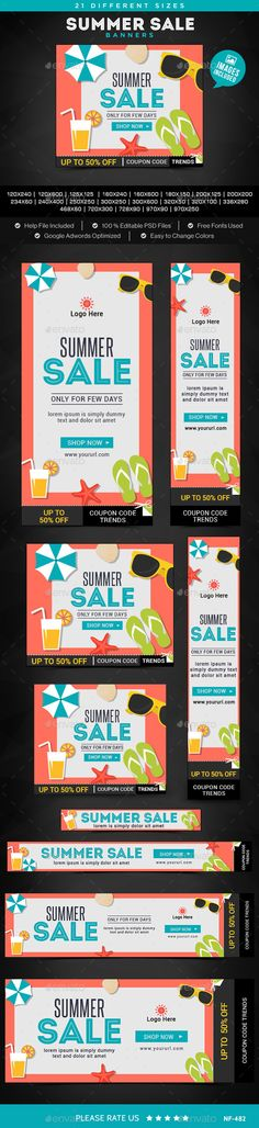 Summer Sale Banners Template #webbanners #design Download: http://graphicriver.net/item/summer-sale-banners/12046214?ref=ksioks