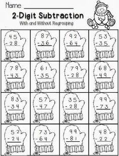 subtraction--winter theme-FREE math for second grade Math For Kids, Fun Math, Math Activities, Maths, Free Math Worksheets, Christmas Math Worksheets, 2nd Grade Math Worksheets, Math Subtraction, Second Grade Math