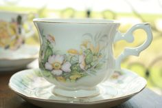St. James Vintage teacup and saucer with pink and door HomiArticles