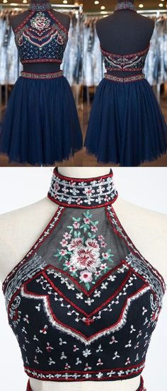 2016 homecoming dress, two piece homecoming dress, navy blue homecoming dress…
