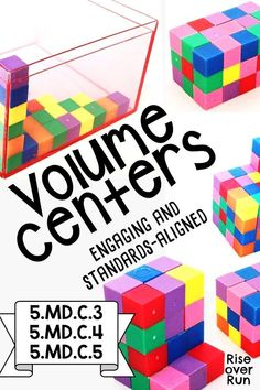 Explore and discover volume with two days of engaging centers for grade standards. This activity is meant to build conceptual understanding of volume. Students will discover the formulas for volume by working with unit cubes and rectangular prisms (in 5th Grade Math Games, 5th Grade Activities, Fifth Grade Math, Math Stations, Math Centers, Learning Stations, Introduction Activities, Special Education Math, Math Groups