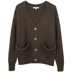See by Chloé Chunky Cardigan (330 AUD) ❤ liked on Polyvore featuring tops, cardigans, sweaters, outerwear, women, v-neck tops, long sleeve v neck cardigan, cotton v neck cardigan, v neck cardigan and button front tops