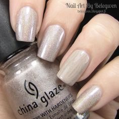 Nail Art By Belegwen: China Glaze Cyberspace and Essie Sand Tropez
