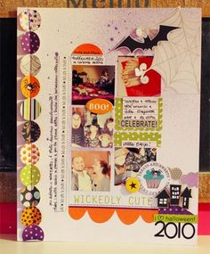 Too Cute To Spook...like the circles of halloween paper down side