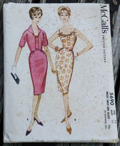 Vintage fashion color illustration pink gold white floral McCall 5690 1950s 50s Wiggle Sheath Dress by EleanorMeriwether