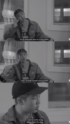 I want to write songs telling them that its okay RM Bts Lyrics Quotes, Bts Qoutes, Sad Quotes, Bts Lockscreen, Bts Memes, Mixtape, Bts Facts, Rapper, Bts Rap Monster