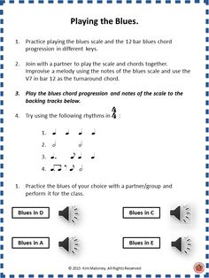 Teach your music class to play The Blues in different keys with backing tracks.   #musedchat   #musiceducation
