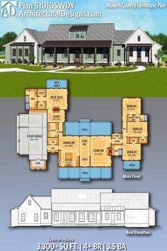 Modern Country Farmhouse Plan with Master Lounge Architectural Designs Home Plan gives you 4 bedrooms, baths and sq. Where do YOU want to build? Architectural Designs Home Plan gives you 4 bedrooms, baths and New House Plans, Dream House Plans, House Floor Plans, My Dream Home, Dream Houses, Modern Country, Farmhouse Plans, Country Farmhouse, The Plan