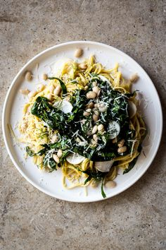 White bean and Collard Green Spaghetti with Lemon and Turnips - Dishing Up the Dirt