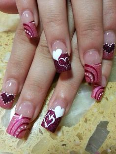 Best Valentine Nail Art Designs - Page 57 of 85 - NailCuco Red Nail Art, Pink Nails, Valentine Nail Art, Valentine Hearts, Valentines Design, Heart Nails, Nagel Gel, Fabulous Nails, Beautiful Nail Art