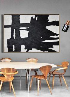 CZ Art Design. Horizontal Minimal Art, minimalist painting on canvas, Large canvas art #MN52F, black, white, grey, pink, for contemporary homes. Interior design decor.