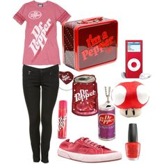 """""""Dr Pepper Love"""" Looks like a good outfit for a Texas girl! Soda Drink, Serin, Junk Food Clothing, Pepsi Cola, Dr Pepper, Themed Outfits, Cool Inventions, Shopping Day, Movie Characters"""