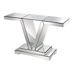 Mirrored Console Table With Clear Glass Top by Dimond Home