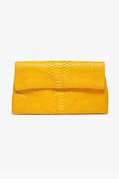 Yellow foldover clutch