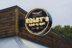 Custom blade sign with neon lettering for Edley's BBQ in Nashville TN. Designed, fabricated and installed by Rite Lite Signs. Different Lettering, Types Of Lettering, Letter Types, Blade Sign, Nashville, Signage, All Things, Bbq, Neon