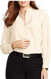 Lauren Ralph Lauren Stand Collar Crepe Shirt (Plus Size)
