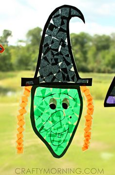 Witch & Bat Halloween Suncatchers (Kids craft idea)