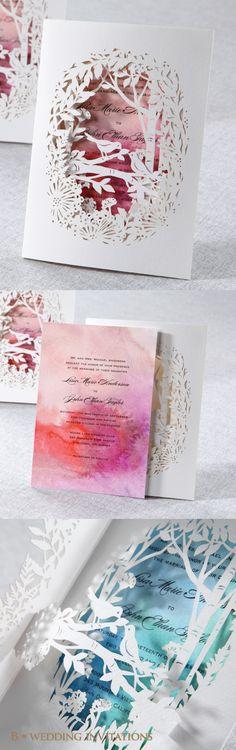 Laser Cut Forest 3D Pocket by B Wedding Invitations