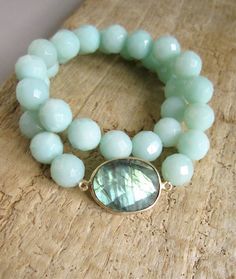 Blue Labradorite Bracelet Amazonite Beaded by julianneblumlo, $88.00