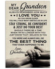 My Dear Grandson Always Remember How Much I Love You Family Poster , M - Canvaswallprint