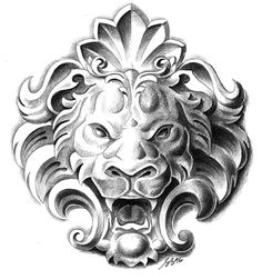 Lion - IllustratIon inspired by a mascaron from the Spanish renaissance period. Kunst Tattoos, Neue Tattoos, Bild Tattoos, Abstract Tattoos, Geometric Tattoos, Statue Tattoo, Lion Tattoo Design, Tattoo Designs, Lion Design