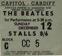Ticket for the Beatles show at the Capitol Theatre in Cardiff on 12th December 1965