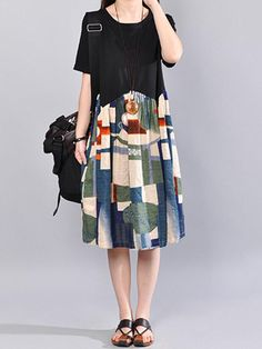 Casual Women Short Sleeve Print Patchwork Loose Women Dress - Shopping Made Fun Casual Dresses For Women, Dress Casual, Clothes For Women, Cheap Dresses, Women's Fashion Dresses, Boho Fashion, Ralph Lauren Womens Clothing, Maternity Fashion, Plus Size Dresses