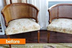 """Maria had a near-perfect Craigslist experience with these two cane-back chairs — not only did she get them for a great price, but the seller was so anxious to get them out of his basement he even delivered them right to her door! She's been hoarding these chairs """"in her stash"""" for a year and she finally came up with a makeover plan. Want to see it?"""