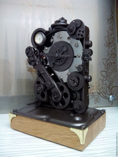 Купить Дизельпанк часы - серебряный, дизельпанк, стимпанк, киберпанк, техностиль, механизм, часы необычные, аллюминий Today's Market, Home Trends, Home Furnishings, Steampunk, Recycling, Table Lamp, Sculpture, Contemporary, Diy