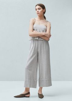Crop style Cotton fabric Striped print Elastic waist Two side pockets Trouser Pants, Trousers Women, Pants For Women, Zara, Clothes 2018, Nautical Looks, Culottes, Summer Trends, Stylish Girl