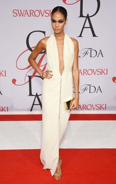 Joan Smalls in Calvin Klein at the 2015 CFDA Fashion Awards. See all the looks from the night.