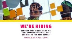 A creative job vacancy video template. 'We're hiring' is displayed in bright pink text and a video background showing employees working in a group. Creative Jobs, Video Background, Company Names, Bright Pink, Collaboration, Positivity, Templates, Group, Design