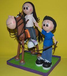 fofuchas parjea a caballo  goma eva,silicona foamy 3d