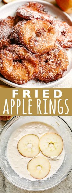 Apple Rings – A quick and delicious snack with sliced apple rings dipped in pancake batter, fried to a crisp, and topped with sweet cinnamon-sugar. It's like a donut + a pancake + a baked apple, tied all into ONE! Donut Recipes, Fudge Recipes, Fruit Recipes, Apple Recipes, Fall Recipes, Dessert Recipes, Cooking Recipes, Apple Snacks, Yummy Snacks
