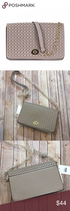 Spotted while shopping on Poshmark: ✨CLEARANCE✨Taupe Laser Cut Faux Leather Crossbody! #poshmark #fashion #shopping #style #Fabfindz #Handbags