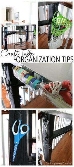 Craft Table Organization Tips - easy ideas to simplify your craft desk or table.  #DamageFreeDIY #ad