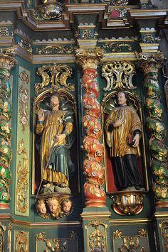 Retables à colonnes torsadées, église Notre-Dame de l'Assomption (XVIIIe), Cordon, Faucigny, Haute-Savoie, Rhône-Alpes, France.