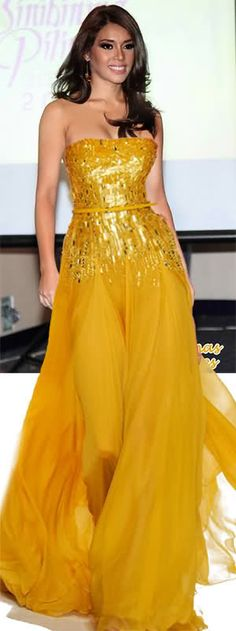 dazzling and perfect in yellow Mellow Yellow, Bright Yellow, Color Yellow, Colour, Strapless Dress Formal, Prom Dresses, Yellow Gown, Yellow Fashion, Schneider