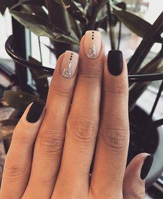 Square Nail Designs, Short Nail Designs, Nail Art Designs, Accent Nail Designs, Nails Design, Nail Designs For Winter, Cheetah Nail Designs, Shellac Designs, Black Nail Designs