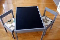 Ikea cheap desk into chalkboard top desk for girls