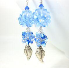 Light Blue Seashell Dangle Earrings Beach by GlassRiverJewelry