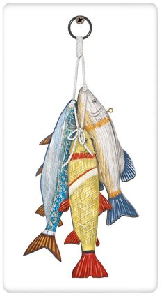 Nautical Wooden Fish Cotton Flour Sack Dish Tea Towel - Mary Lake Thompson x Dish Towels, Tea Towels, Draw Character, Red Worms, Beach Illustration, Art Impressions Stamps, Wooden Fish, Flour Sack Towels, Driftwood Art
