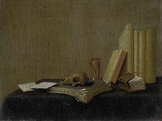 Gerrit van Vucht | Vanitas Still Life, Gerrit van Vucht, 1658 - 1697 | Vanitas stilleven. Op een tafel staan en liggen enkele boeken en paperassen. In het midden een schedel en een zandloper.