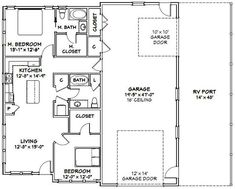 apartment floor plans This is a PDF Plan available for Instant bedroom, 2 bath home with 1 RV, bus, or big rig garage and RV port. It has a microwave over range & stacked washer/ Barn Homes Floor Plans, Pole Barn House Plans, Barndominium Floor Plans, Pole Barn Homes, Shop House Plans, Small House Plans, House Floor Plans, Shop Plans, Pole Barns