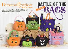 8 Personalization Mall Halloween Trick-or-Treat Bags will enter the Battle. Which will triumph? YOU DECIDE!