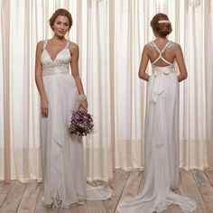 Wholesale Wedding Dress - Buy Unique Deep V-neck Empire Wedding Dresses Cross Straps Ruffle Chiffon Anna Campbell Designer Sexy Sleeveless Floor Length Bridal Gowns, $118.75 | DHgate.com