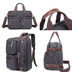 """Clean Vintage Hybrid Laptop Backpack Messenger Bag / Convertible Briefcase Backpack BookBag Rucksack Satchel Waxed Canvas  Backpack Messenger Bag as a Laptop bag; it has a padded compartment for your laptop- it could easily function as 13.3, 14, 14.4 inch or up to 15"""" laptop-computer models. It is advisable to check your computer actual measurement against those of the bag- 15 x 5.5 x 12.2 inches  The perfect Daypack. Not only a laptop bag. Clean Vintage Backpack Messenger Bag gives a ..."""