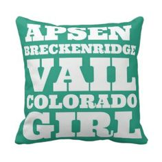 Teal Colorado Ski Girl Throw Pillow