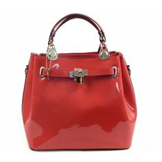 Cute Faux Patent Leather Medium Sized Satchel in Coral found on Polyvore