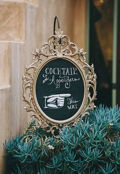 Make your own fancy reception signs using a vintage mirror and chalkboard paint! | Truly Brilliant Ikea Wedding Hacks | http://tailoredfitphotography.com/wedding-planning-tips/truly-brilliant-ikea-wedding-hacks/